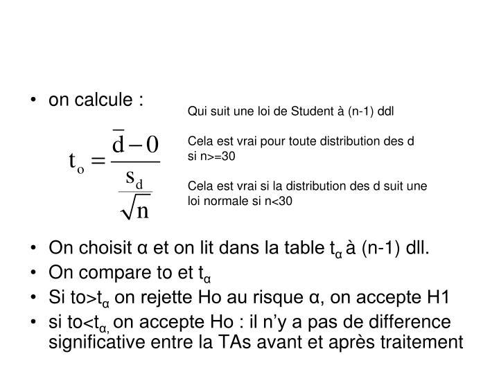 on calcule :