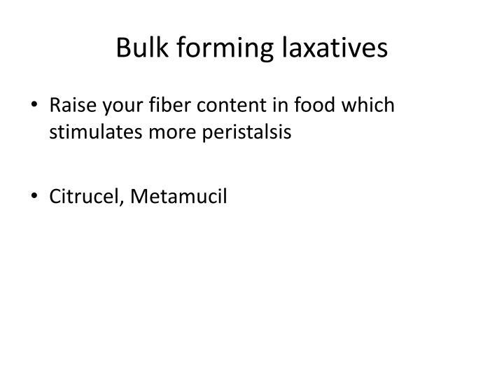 Bulk forming laxatives