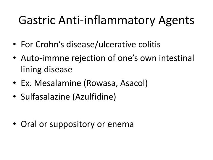 Gastric Anti-inflammatory Agents