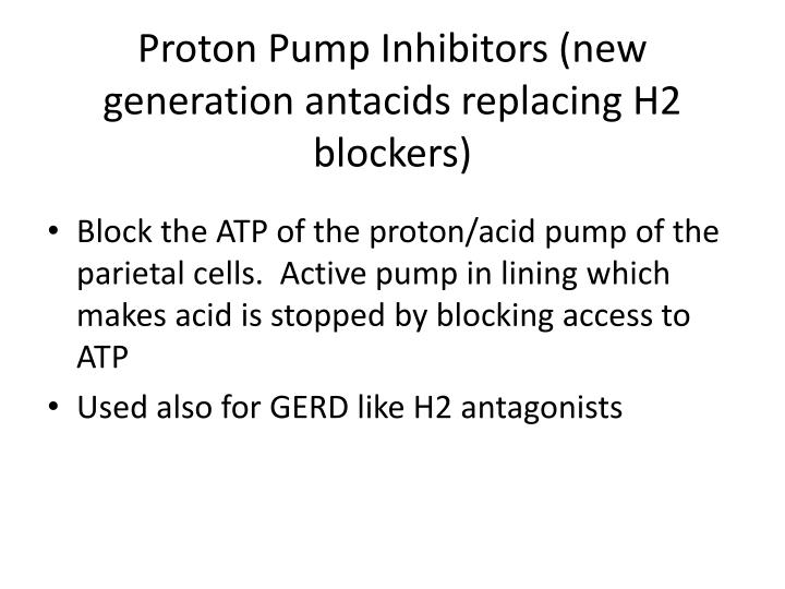 Proton Pump Inhibitors (new generation antacids replacing H2 blockers)