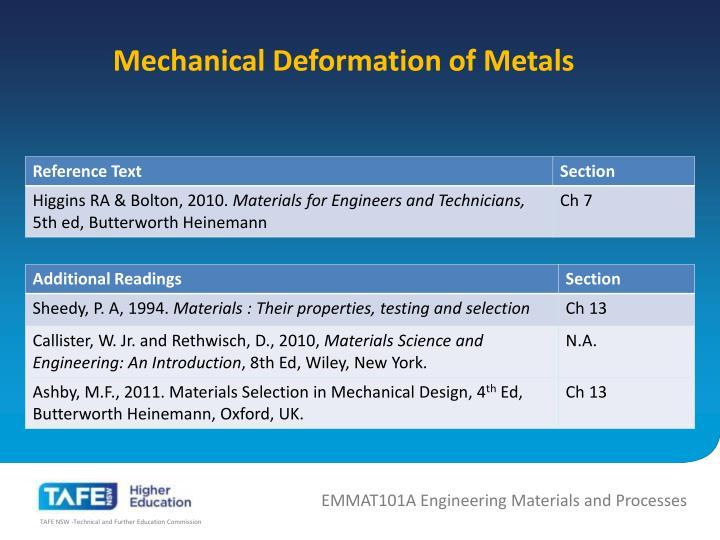 Mechanical Deformation of Metals