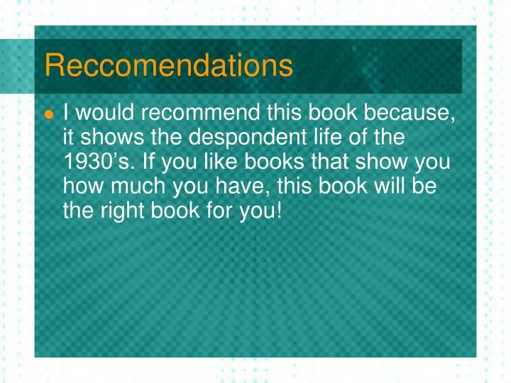 Reccomendations