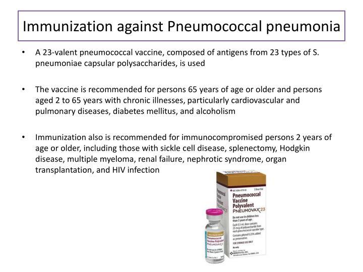 Immunization against Pneumococcal pneumonia