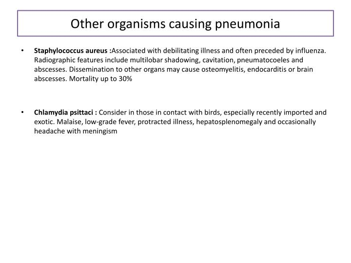 Other organisms causing pneumonia
