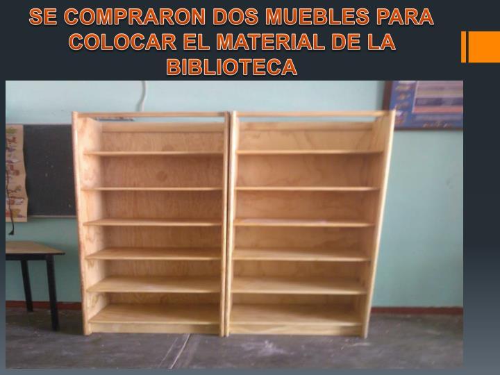 SE COMPRARON DOS MUEBLES PARA COLOCAR EL MATERIAL DE LA BIBLIOTECA