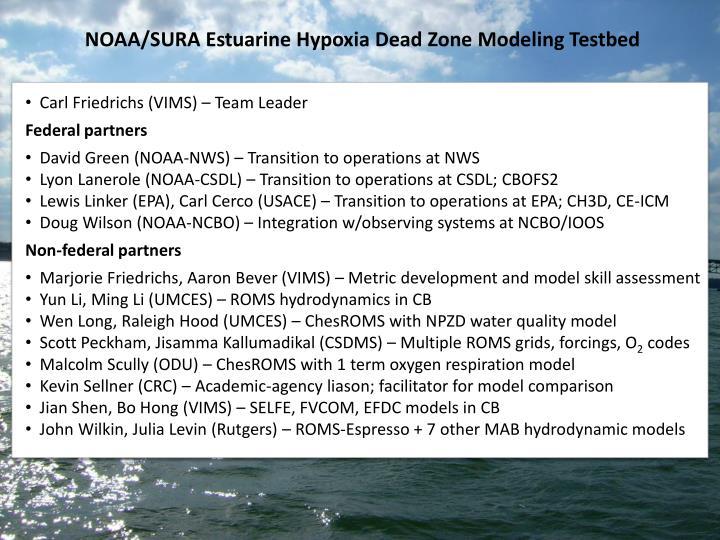 NOAA/SURA Estuarine Hypoxia Dead Zone Modeling Testbed
