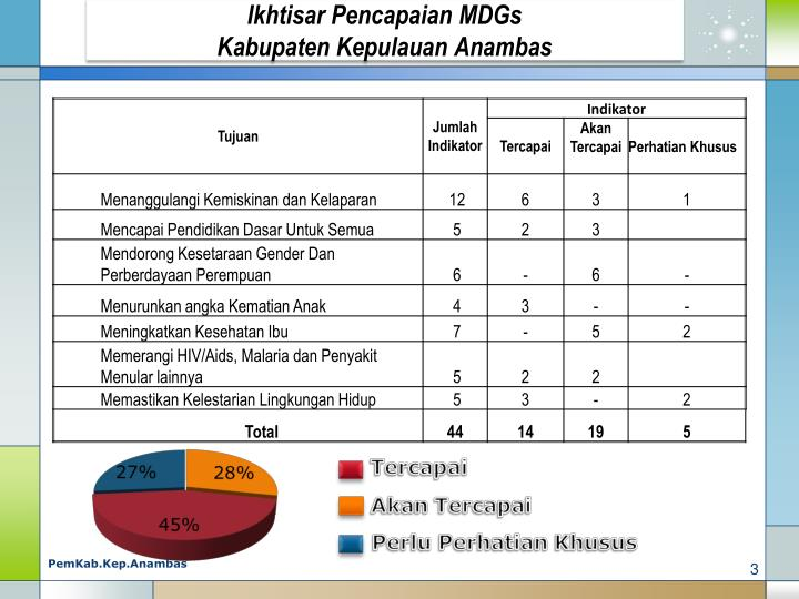 Ikhtisar Pencapaian MDGs
