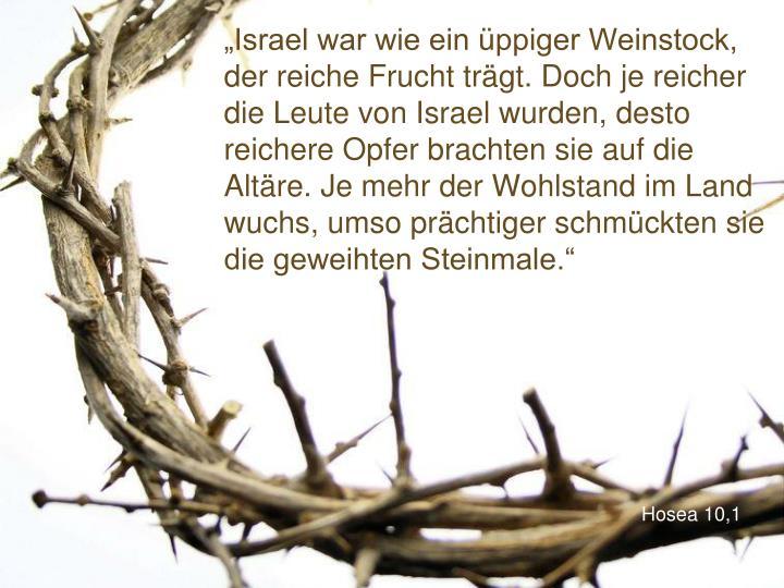 """""""Israel war wie ein üppiger Weinstock, der reiche Frucht trägt. Doch je reicher die Leute von Israel wurden, desto reichere Opfer brachten sie auf die Altäre. Je mehr der Wohlstand im Land wuchs, umso prächtiger schmückten sie die geweihten Steinmale."""""""