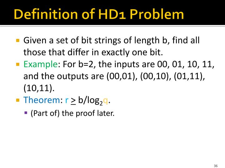 Definition of HD1 Problem