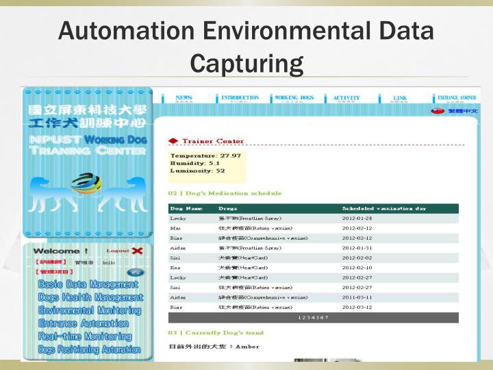 Automation Environmental Data Capturing