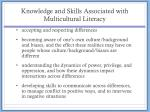 knowledge and skills associated with multicultural literacy