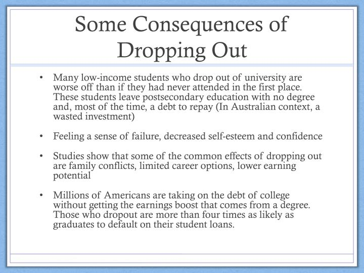 Some Consequences of Dropping Out