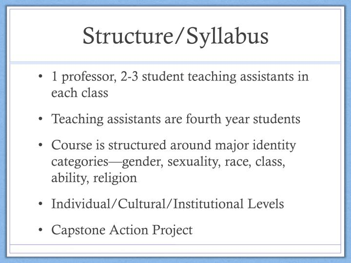 Structure/Syllabus