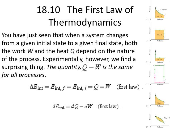 18.10   The First Law of Thermodynamics