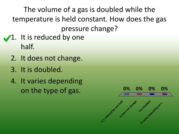 The volume of a gas is doubled while the temperature is held constant. How does the gas pressure change?