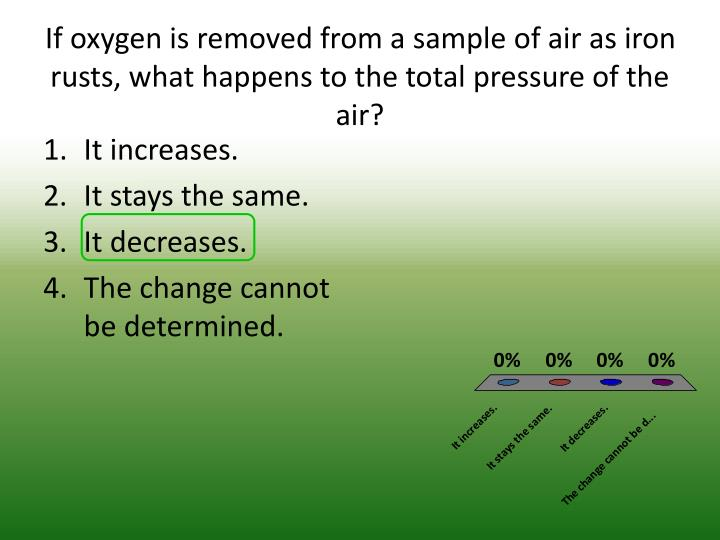 If oxygen is removed from a sample of air as iron rusts, what happens to the total pressure of the air?