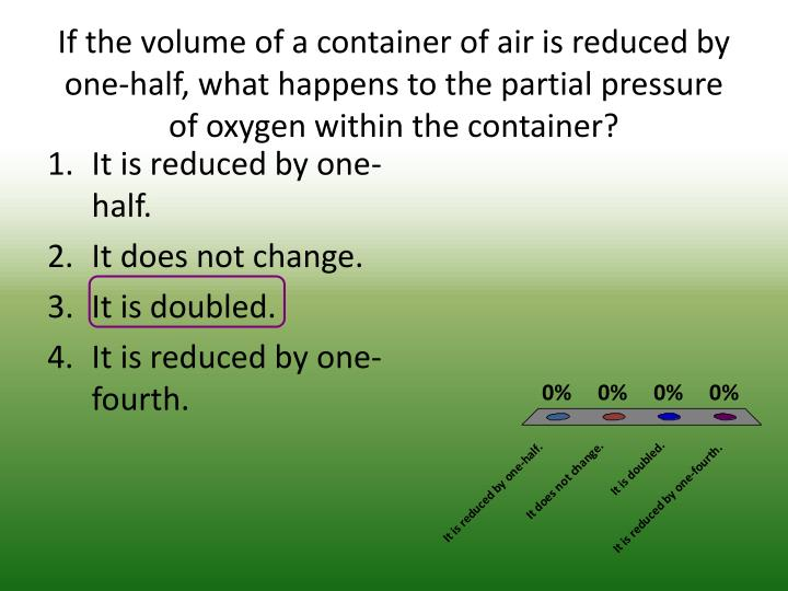If the volume of a container of air is reduced by one-half, what happens to the partial pressure of oxygen within the container?