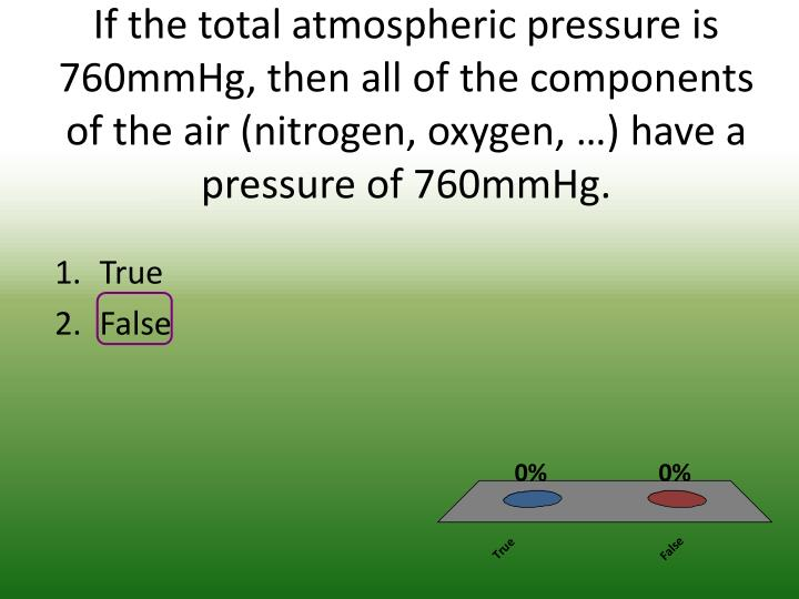 If the total atmospheric pressure is 760mmHg, then all of the components of the air (nitrogen, oxygen, …) have a pressure of 760mmHg.