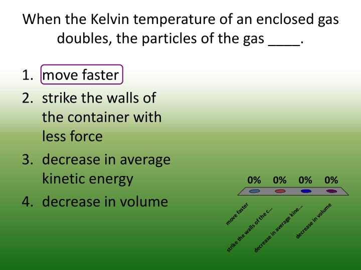 When the Kelvin temperature of an enclosed gas doubles, the particles of the gas ____.