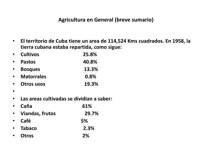 Agricultura en General (breve sumario)