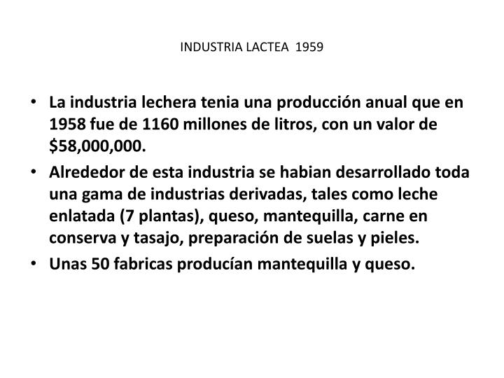INDUSTRIA LACTEA  1959