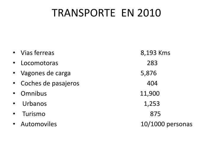 TRANSPORTE  EN 2010