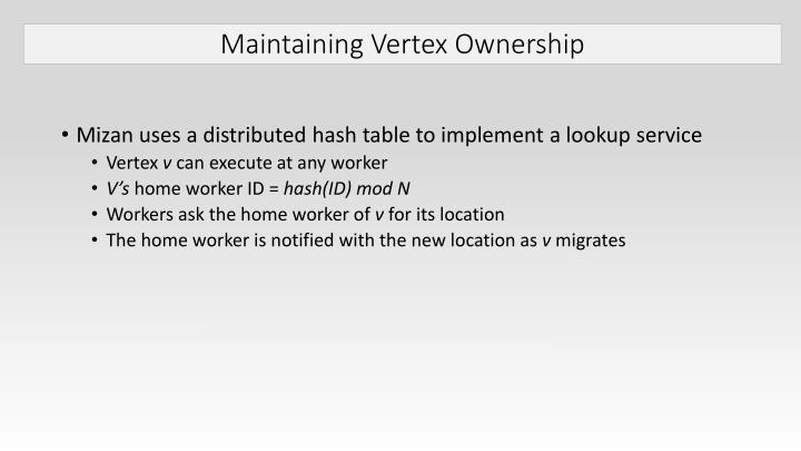 Maintaining Vertex Ownership
