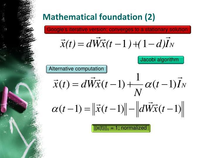 Mathematical foundation (2)