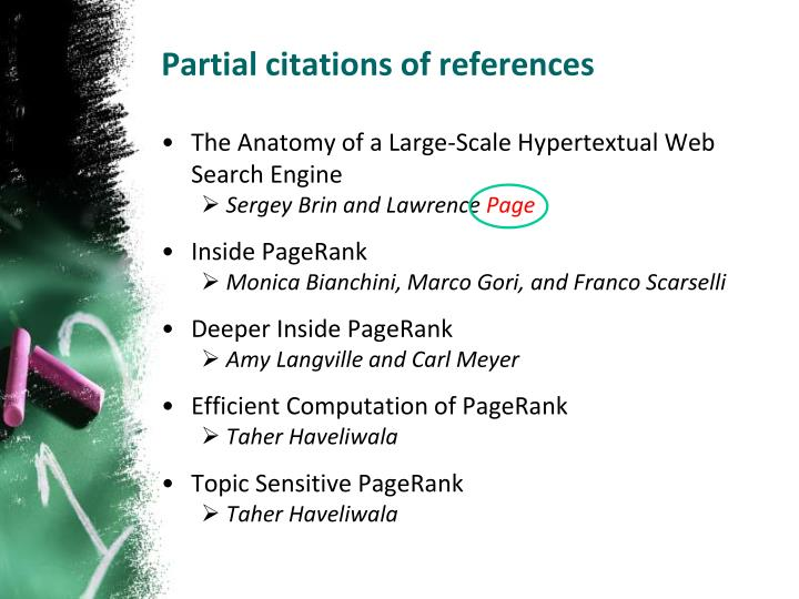 Partial citations of references