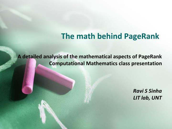 The math behind pagerank