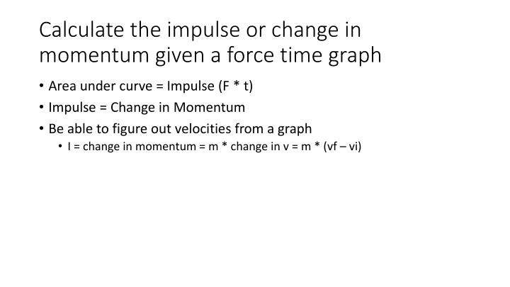Calculate the impulse or change in momentum given a force time graph