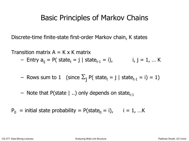 Basic Principles of Markov Chains
