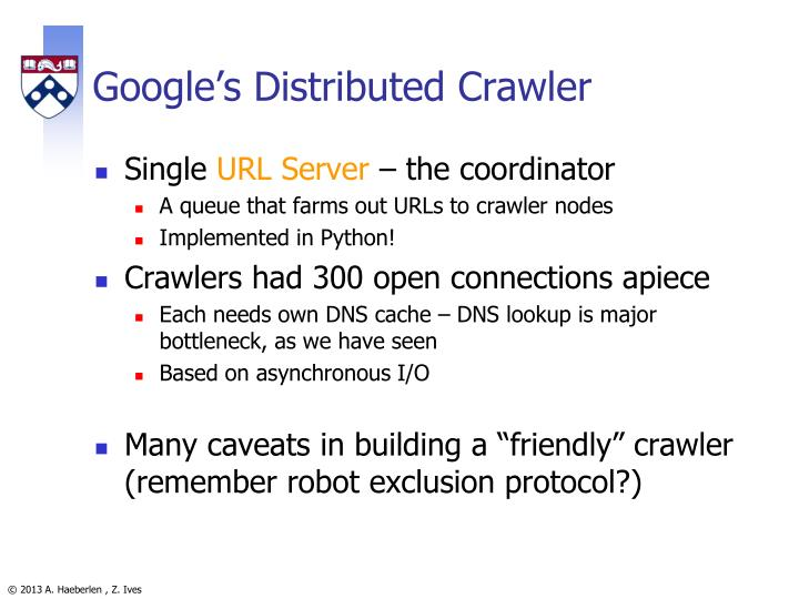 Google's Distributed Crawler