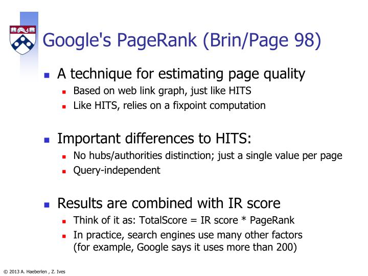 Google's PageRank (Brin/Page 98)