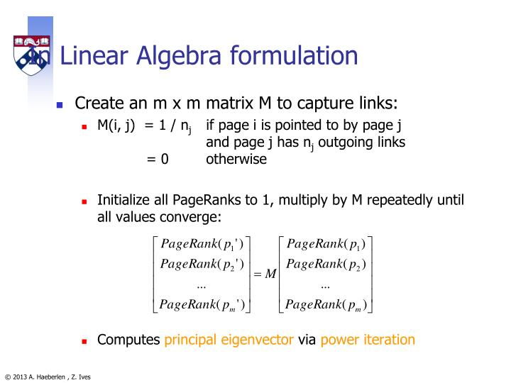 In Linear Algebra formulation