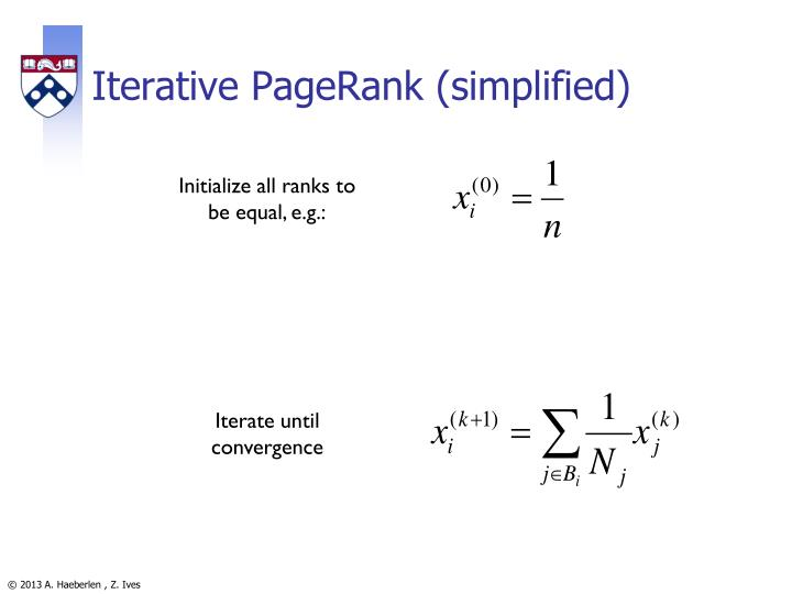 Iterative PageRank (simplified)
