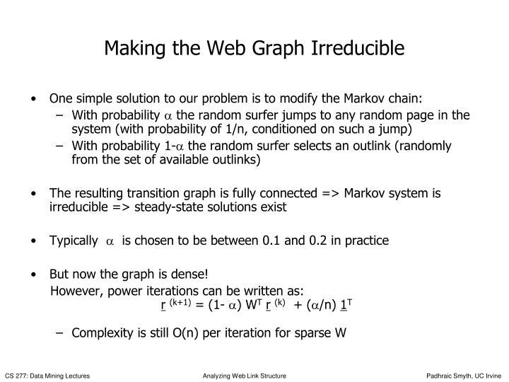 Making the Web Graph Irreducible