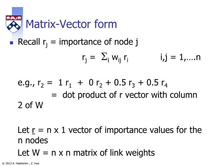 Matrix-Vector form