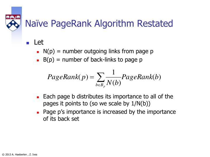 Naïve PageRank Algorithm Restated