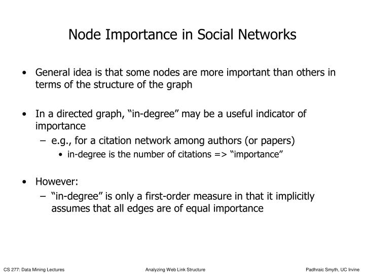 Node Importance in Social Networks