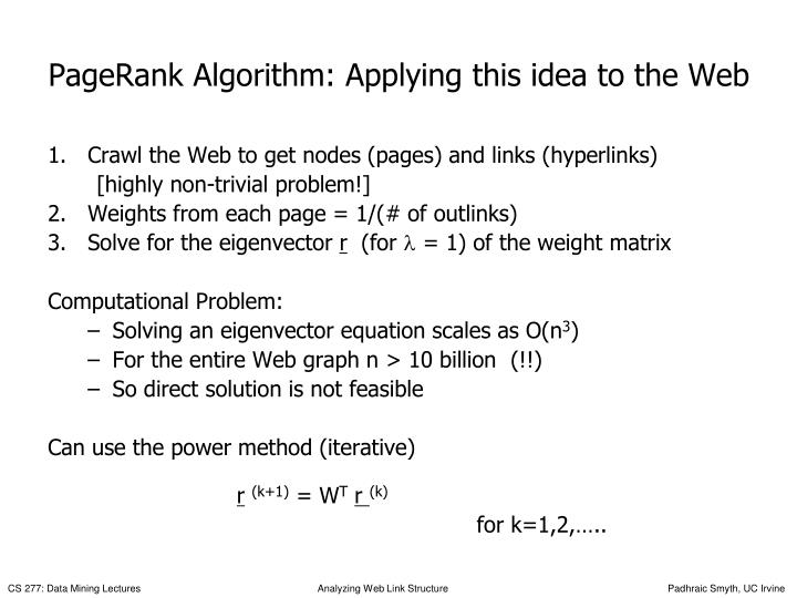 PageRank Algorithm: Applying this idea to the Web