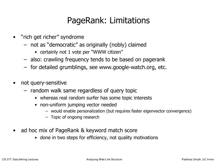 PageRank: Limitations