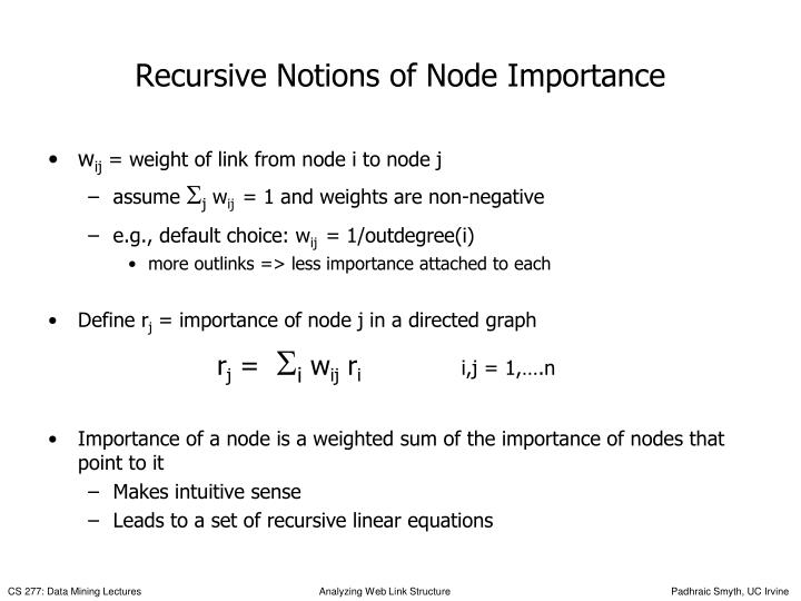 Recursive Notions of Node Importance