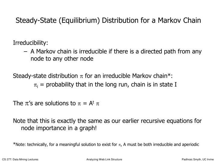 Steady-State (Equilibrium) Distribution for a Markov Chain