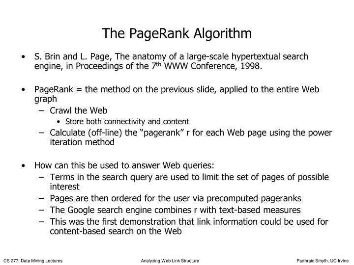 The PageRank Algorithm