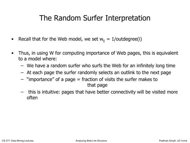 The Random Surfer Interpretation