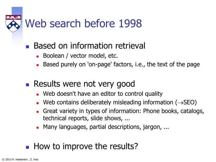 Web search before 1998