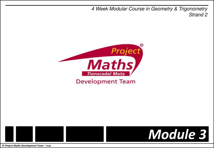 4 Week Modular Course in Geometry & Trigonometry
