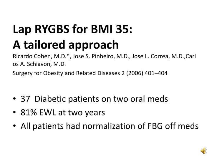 Lap RYGBS for BMI 35: