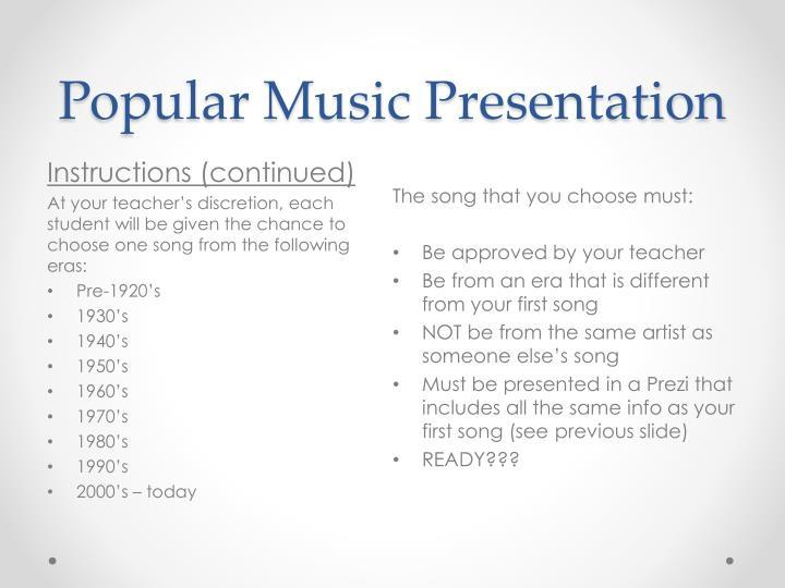 Popular Music Presentation